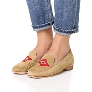 Soludos | Embroidered Beige Suede Moc Loafer 7 NEW